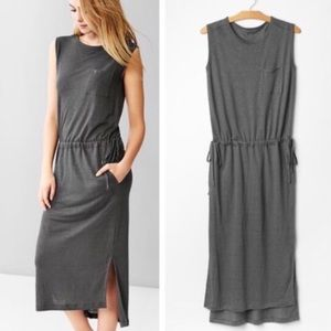 Gap Gray Linen Drawstring Maxi Dress